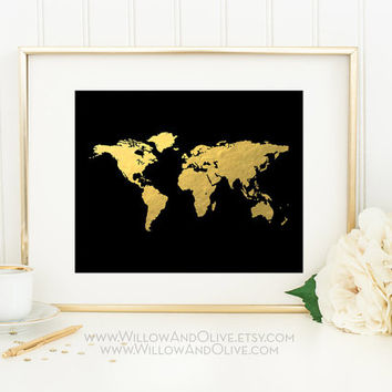 Best gold world map poster products on wanelo world map faux gold foil art print gold world map gold map print gumiabroncs Choice Image