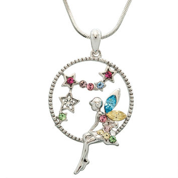 Fairy in Circle Stars Necklace
