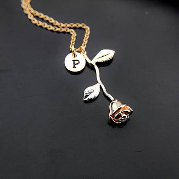 Rose Necklace, Rose Gold Rose Charm Necklace, Love Rose Charms, Flower Rose Charms, Personalized Necklace, Initial Charm, Initial Necklace