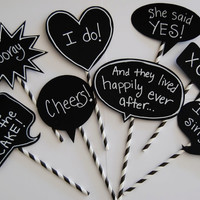 8 Chalkboard Photo Booth Props Speech Bubbles Chalk Board message Signs - Party Photo Decorations wedding shower parties