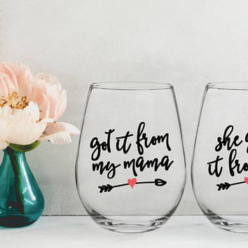 mothers day from daughter, mom wine glass, mothers day gift, gifts for mom, gifts for her, got it from my mama, gifts under 20, mom daughter