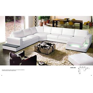 Divani Casa 2263 - Luxury Modern Contemporary  Leather Sectional Sofa With Light