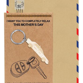 Belinda Car Key Chain, Gifts for Mom, Funny Gifts, Mother's Day Gift with Greeting Card