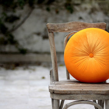 Melon orange velvet round pillow 16""