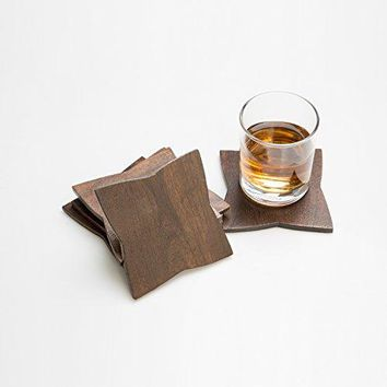 Rusticity Cool Wood Coaster Set of 6  Star Design | Handmade | 4x4in