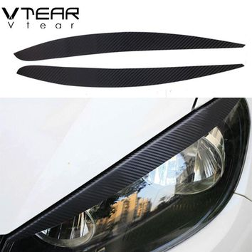 Vtear For Volkswagen Polo headlights brow sticker 3D carbon fiber paster Exterior decoration products accessory part 2011-2016