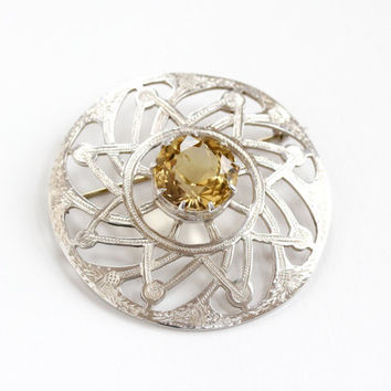 Vintage Sterling Silver Scottish Thistle Citrine Brooch - 1950s Huge Yellow Gem Jewelry Pin Hallmarked RA Robert Allison, Glasgow Scotland