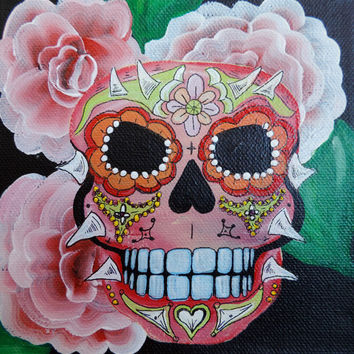 Sugar Skull Day of the Dead Dia De Los Muertos Skull Painting Skeleton Painting Original Acrylic Painting Wall Art Skull red with thorns