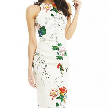 Creative Slim Vintage Print Sleeveless Skirt One Piece Dress [4918660932]