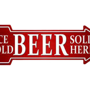 Smart Blonde Outdoor Decor Ice Cold Beer Sold Here Novelty Metal Arrow Sign A-145