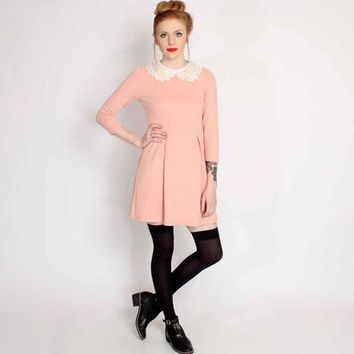 Ark Pink Lillian Peter Pan Collar Dress