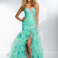 Paparazzi dress - Iced Pink, Coral, Mint - 95079 Beaded Organza Ruffled Gown with High Side Front Slit
