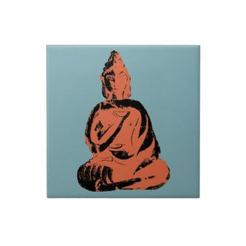 Bold Graphic Buddha Deity Blue Orange Vintage God Ceramic Tiles