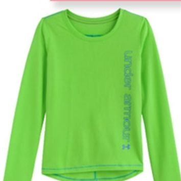 Under Armour Frosty Long Sleeve Tee in Gecko Green for Girls 1248370-3
