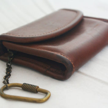 Wristlet- COACH brown leather credit card holder with brass keychain