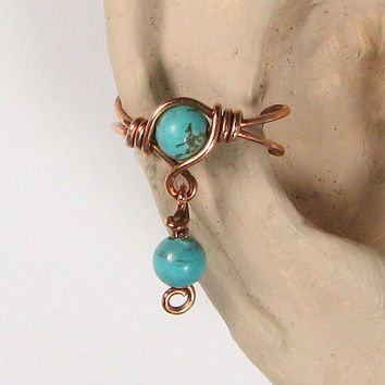 Copper Ear Cuff with DangleTurquoise Dyed Howlite or 56 Choices