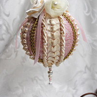 Ivory and Pink Brocade Victorian Style Holiday Ornament