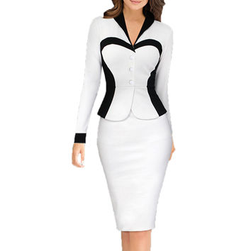 Women's New Fashion Dress Mixed Colors Black White Long-sleeved Package Hip Dress Slim Work Casual Party Bodycon Fitted Dresses