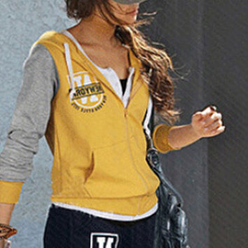 Graphic Print Hooded Long Sleeve Sweater