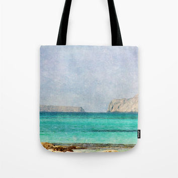 Art Tote Beach Bag At Sea 4 photography summer Fashion photo photograph Mediterranean texture ocean aqua sky blue beach nautical mountain