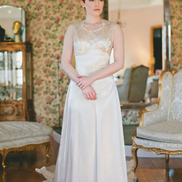30s Wedding Dress // Vintage 1930s Liquid Satin Wedding Gown With Deco Details