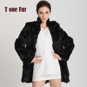 New Women Fashion Real Rabbit Fur Coat Mandarin Collar Fur Coat Long Customize Jacket Free shipping KHP147
