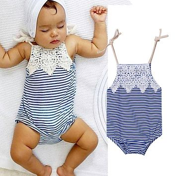 Baby Girls Lace Romper Blue Striped Jumpsuit Outfits Clothes