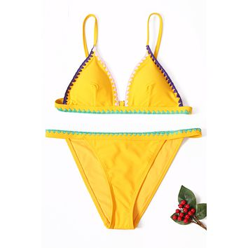 Yellow Padded Embroidered Trim Bikini Set