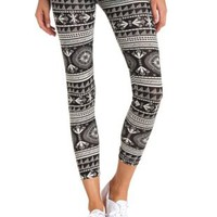 Cotton Southwest Printed Leggings by Charlotte Russe - Black/Ivory