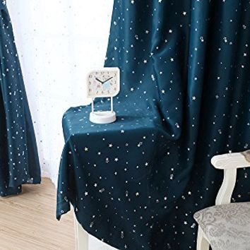 H.Versailtex Cute Star War Pattern Thermal Insulated Blackout Kids Room Curtains with Antique Grommet Top (1 panel), 52 inch Width by 84 inch Length