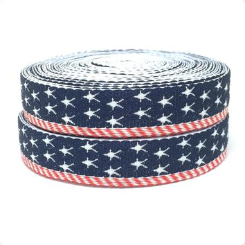 "20 mm 3/4 ""10 yard/sets jump line ribbon sets the American flag Ethnic Ribbon Woven Jacquard ribbon"