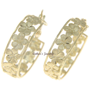 SOLID 14K YELLOW GOLD HAWAIIAN PLUMERIA FLOWER HOOP EARRINGS DIAMOND CUT BORDER