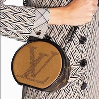 Louis Vuitton Hot Sale New Women's Stitching Printed Chain Pancake Bag Crossbody Bag