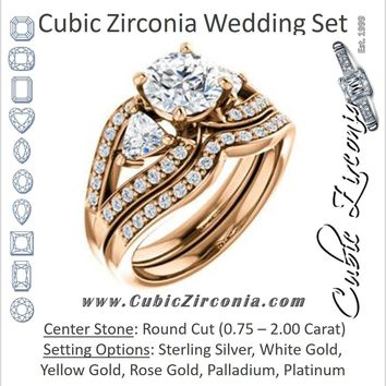CZ Wedding Set, featuring The Karen engagement ring (Customizable Enhanced 3-stone Design with Round Cut Center, Dual Trillion Accents and Wide Pavé-Split Band)