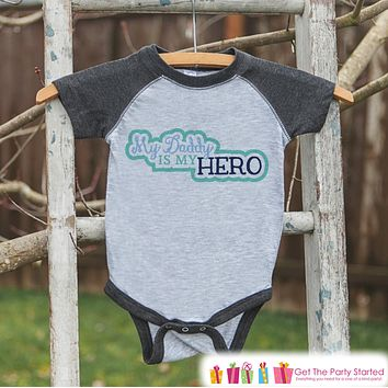 Baby Boy's Father's Day Outfit - Grey Raglan Shirt - Daddy Is My Hero - Military Outfit - Happy Fathers Day Onepiece or Tshirt - 4th of July