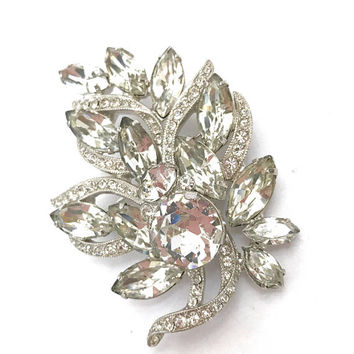 Eisenberg Ice Floral Rhinestone Brooch, Clear Rhinestones Various Cuts & Sizes, Pave Set Ribbons, Silver Tone, Vintage Gift for Her, Signed
