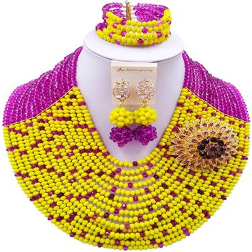 Nigerian Traditional Wedding Jewelry Set Purple and Yellow African Necklace Crystal Beaded Set - Free Shipping