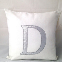 Personalized Pillows, Personalized silver throw pillows,  monogram pillow, Alphabet cushion cover-letter throw pillows