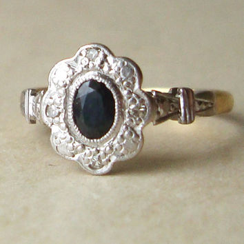 Art Deco Sapphire and Diamond Engagement Ring, Antique Sapphire Flower 18k Gold & Platinum Ring, Approximate Size US 6