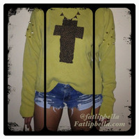 vintage green sweater with leopard cross and gold by FatLipBella