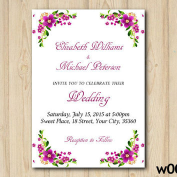 Wedding Invitation, Digital Floral Wedding Invite, Printable Floral Invite, Floral Wedding Invitation (w003)