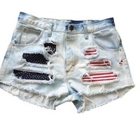 Vintage Shredded American Flag Levi Ripped Frayed Low Rise Denim USA Shorts