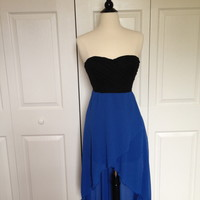Blue/Black strapless high-low dress