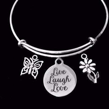 Live Love Laugh Expandable Charm Bracelet Silver Adjustable Bangle Butterfly Daisy Jewelry One Size Fits All Gift