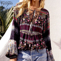 ZANZEA Boho Vintage V-neck top