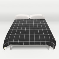 Black White Grid Duvet Cover by Beautiful Homes   Society6