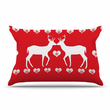 "Suzanne Carter ""Christmas Deer 2"" Holiday Pattern Pillow Sham"