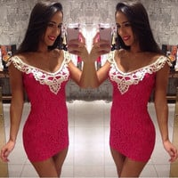 Stylish Sexy Lady's Red Lace Sleeveless Bodycon Short Party Mini Dress 7_S