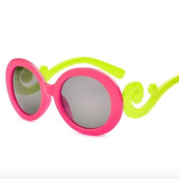 Colorful Swirls Pink/Green Girls Sunglasses