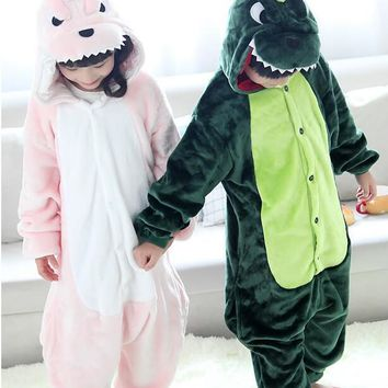 FREE PP! Children Dinosaur Cosplay Onesuit Green Pink Dinosaur Pajamas Sleep Wear costume sleepwear